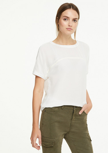 Crêpe blouse with lettering tape from comma