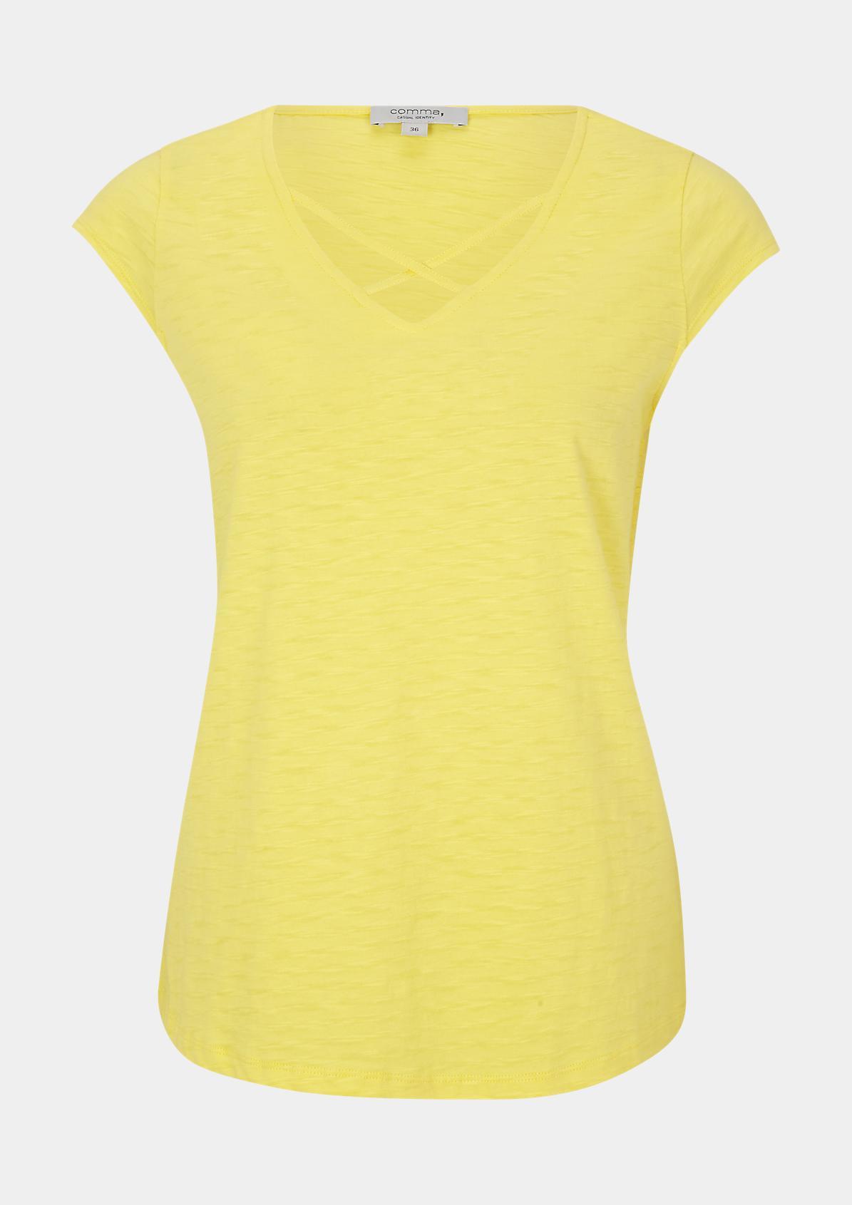 Flammgarn-Shirt mit V-Neck
