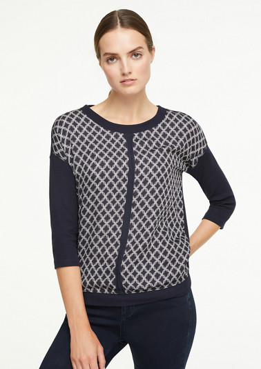 Top with a patterned satin front from comma