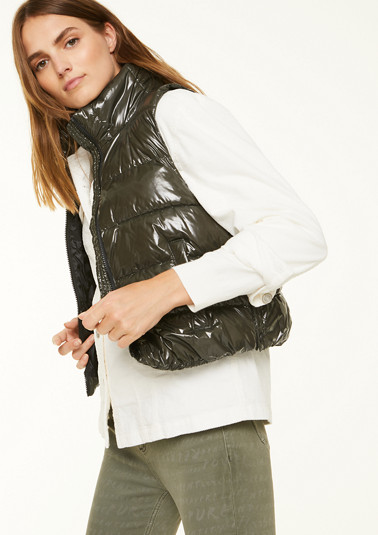 Lacquered nylon quilted bodywarmer from comma