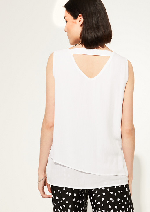 Layered blouse top made of crêpe from comma