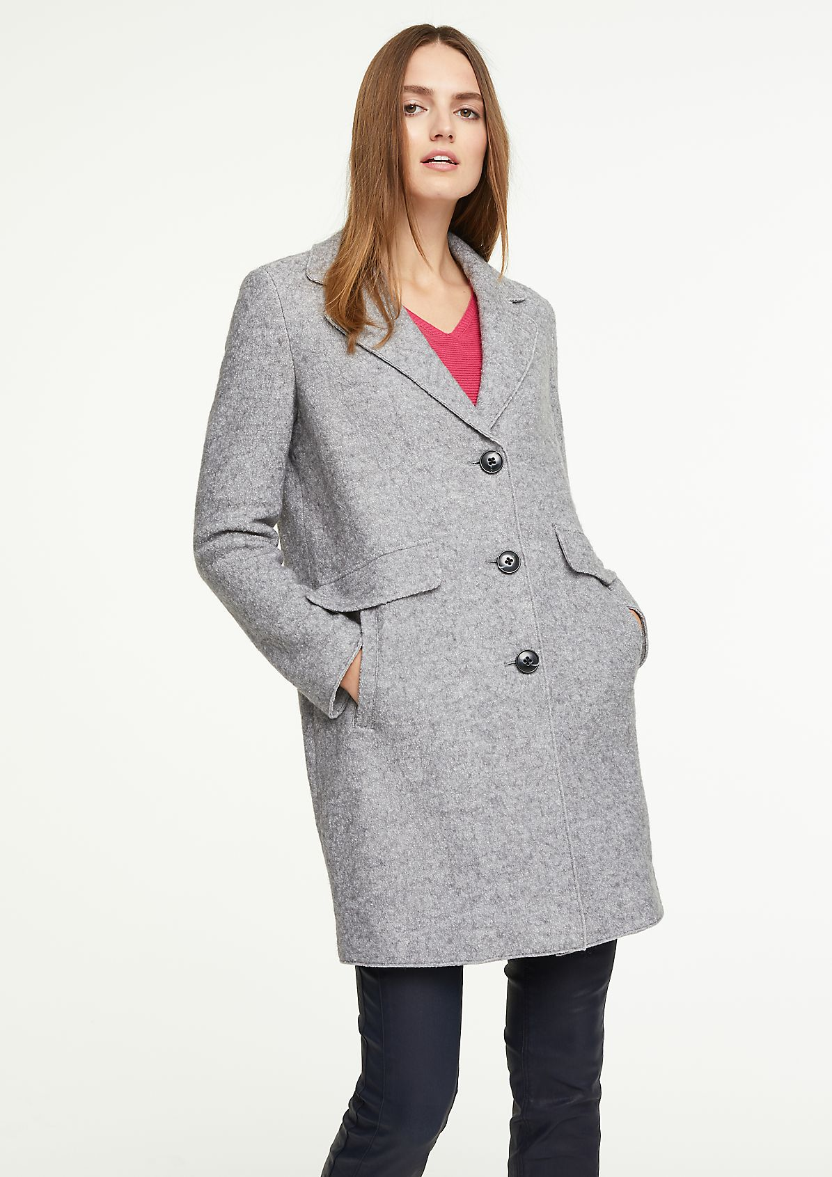 Coat in blended boiled wool from comma