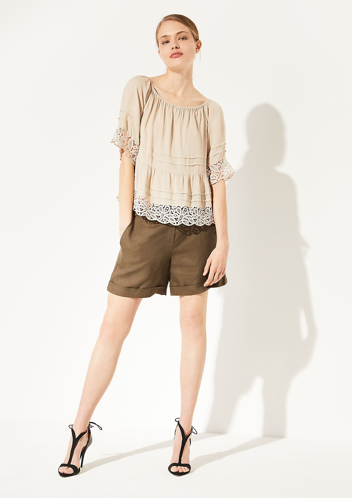 Crêpe blouse with lace from comma