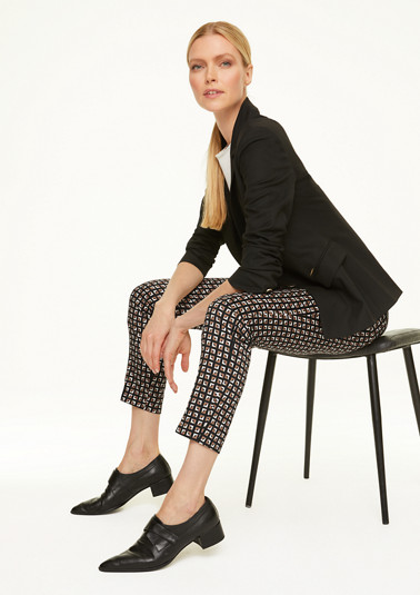 Patterned trousers in cotton satin from comma