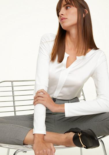 Fabric Mix-Shirt mit Tunikaausschnitt