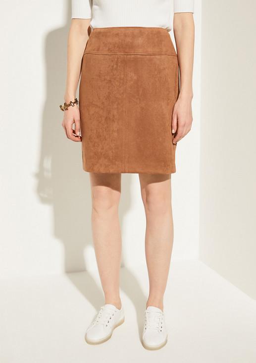Pencil Skirt in Veloursleder-Optik
