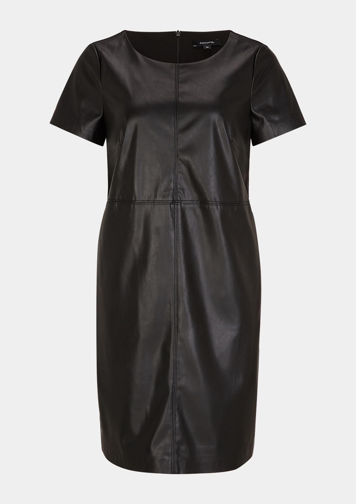 Fabricmix-Kleid mit Fake Leather