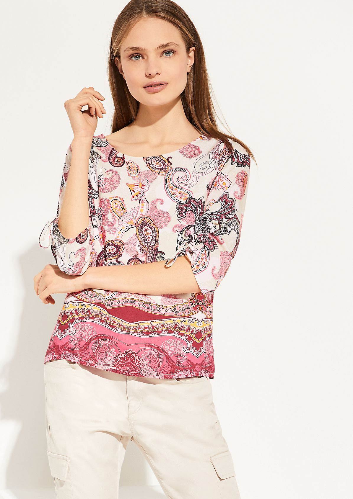 Voile blouse with gathering from comma