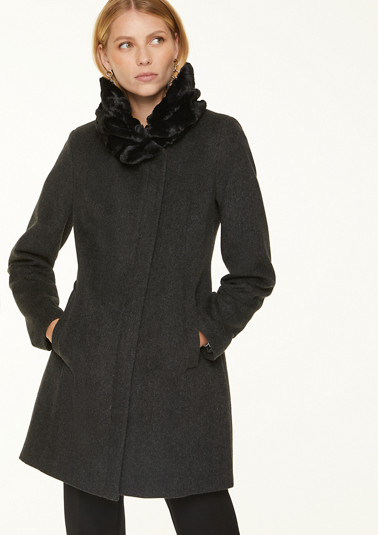 Coat with cosy faux fur collar from comma