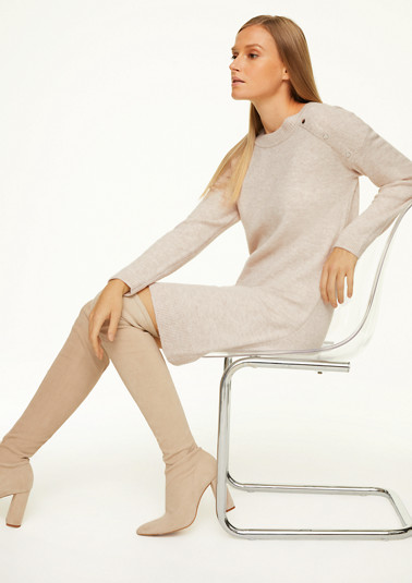 Blended wool dress with decorative buttons from comma