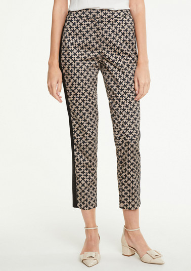 Printed pattern trousers in cotton satin from comma
