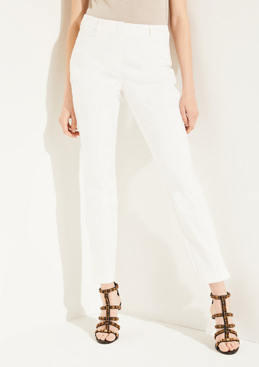 Slim fit: cotton satin trousers from comma