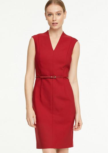 Kleid mit Gürtel in Leder-Optik