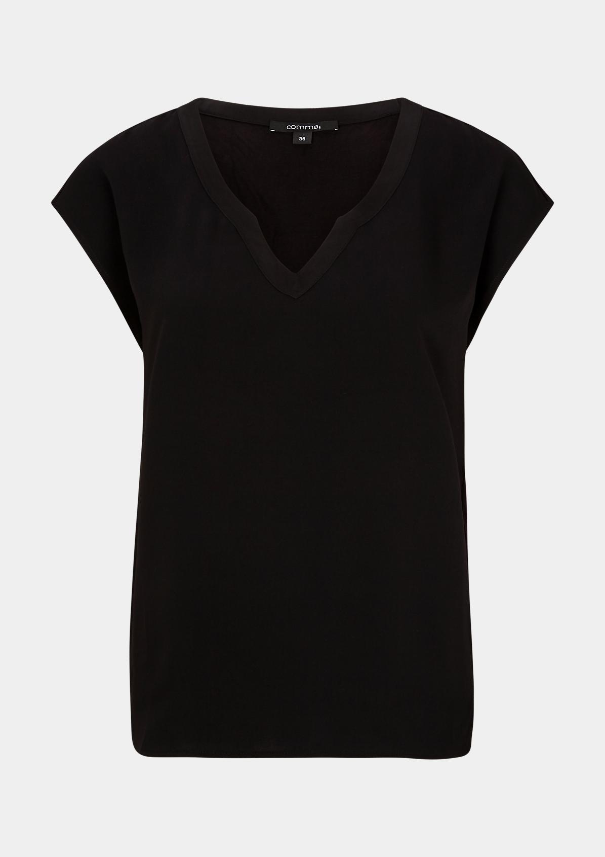 Materialmix-Shirt mit Satinblende