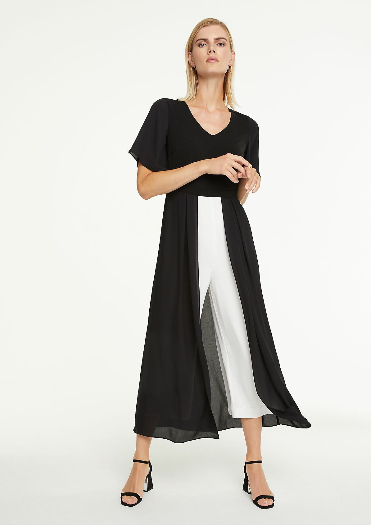 Black & White Jumpsuit-Kleid