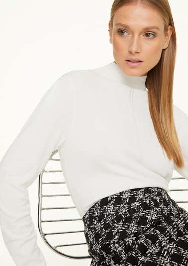 Fine knit jumper with a stand-up collar from comma