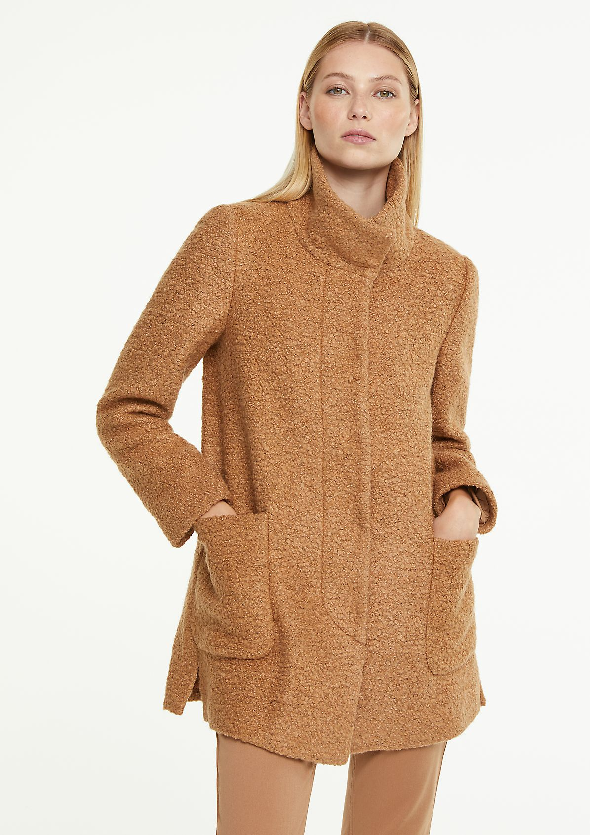 Bouclé jacket with a stand-up collar from comma