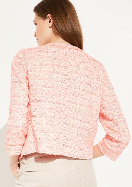 Bouclé-Jacke mit Neon-Details