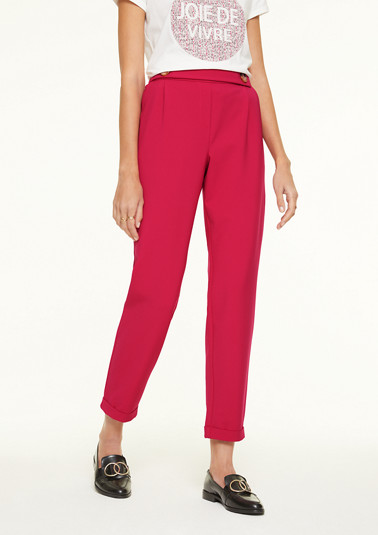Stretch trousers with eye-catching buttons from comma