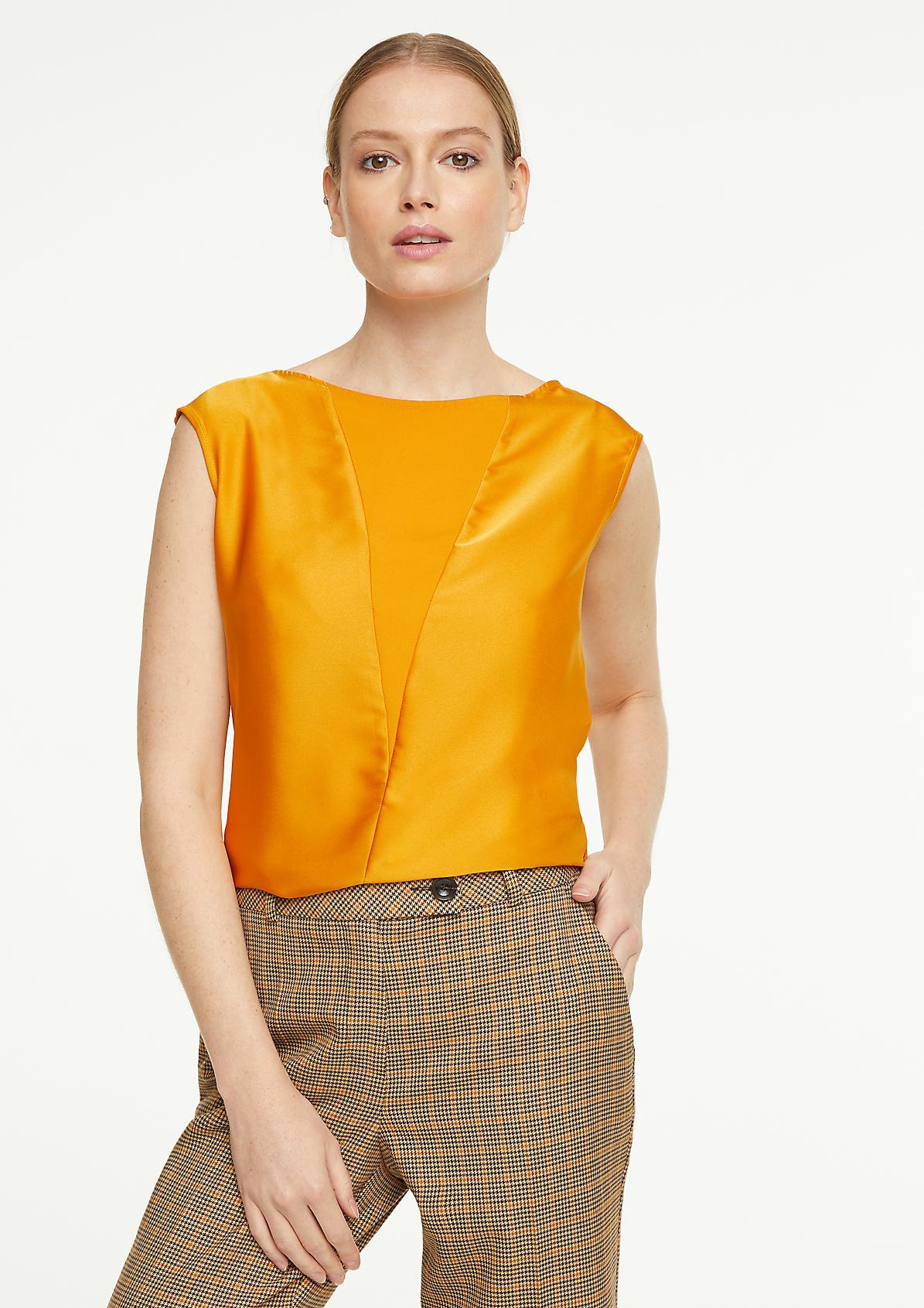 Fabric Mix-Shirt mit Satinfront