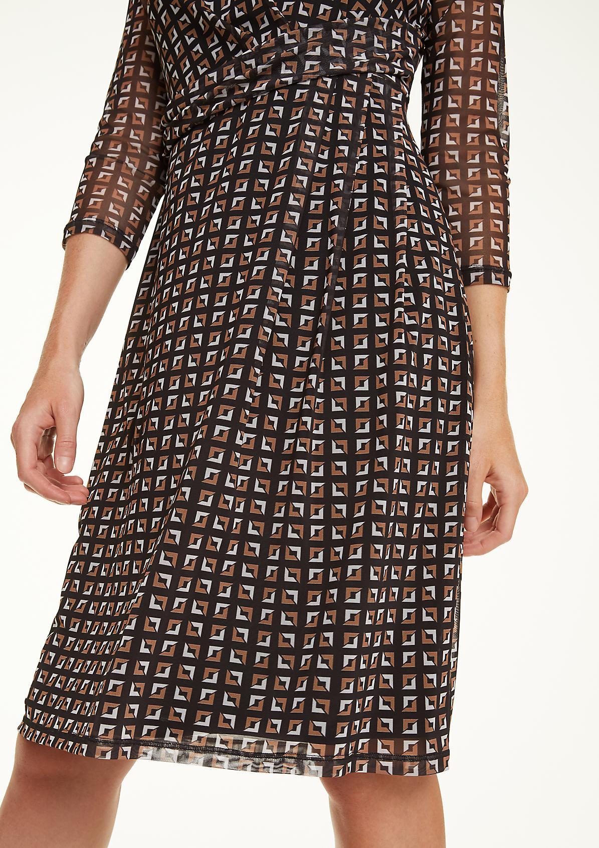 Print-Kleid mit Raffung
