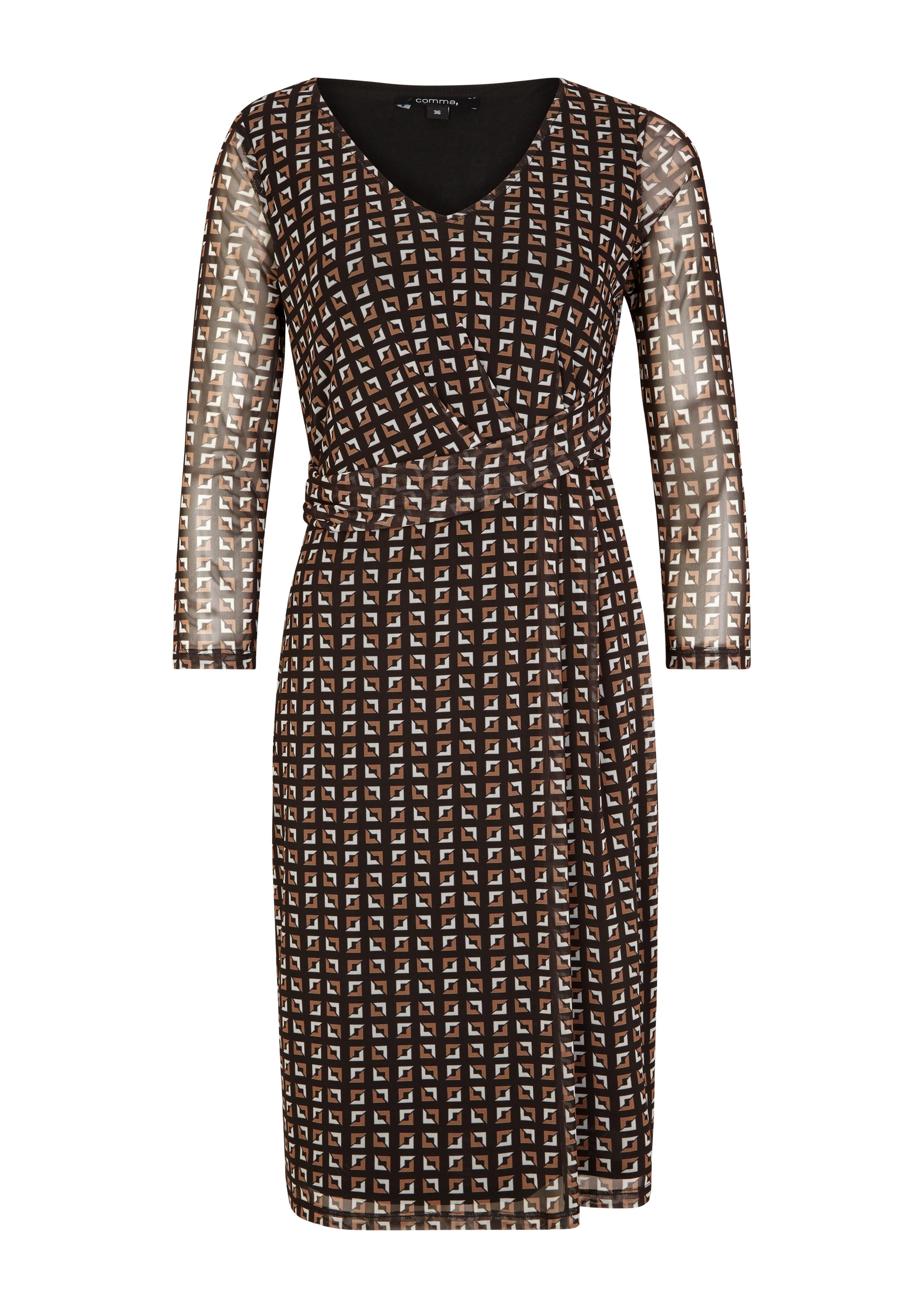 Artikel klicken und genauer betrachten! - Print-Kleid mit Raffung | im Online Shop kaufen