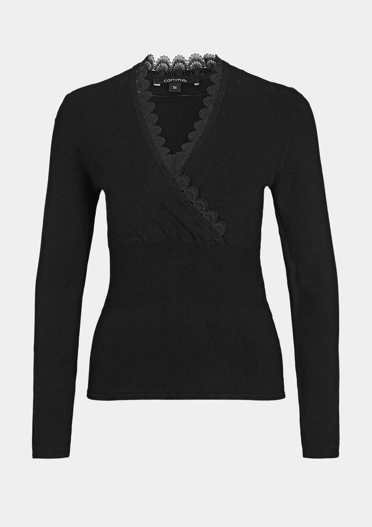 Cache-Coeur-Pullover mit Spitze
