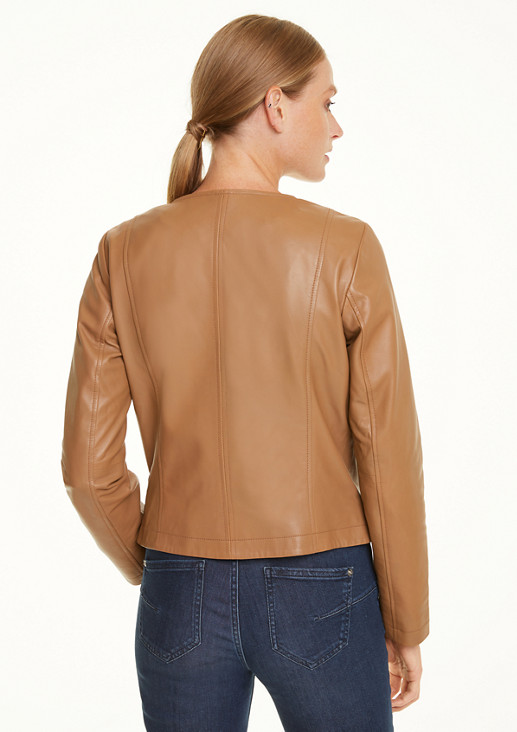 Short, soft leather jacket from comma