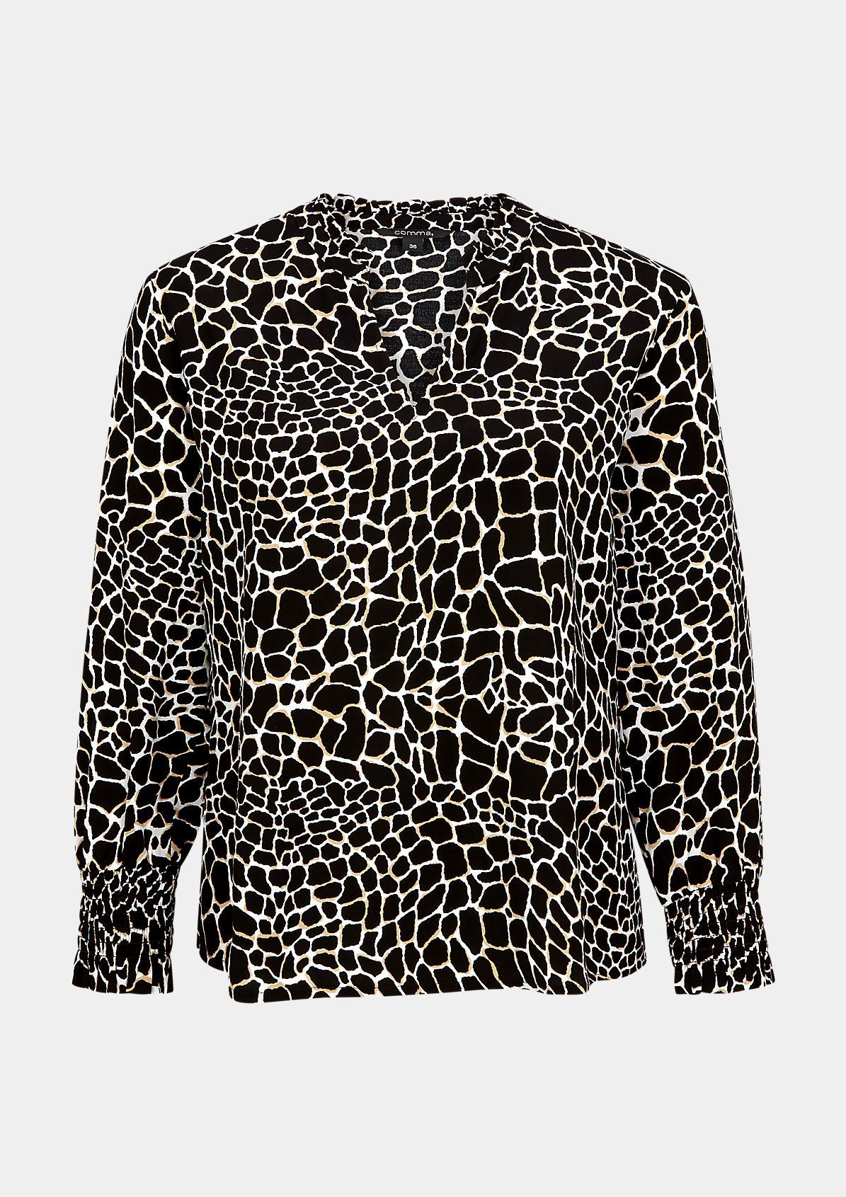 High Neck-Bluse mit Rüschenkragen