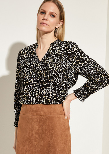 High-neck blouse with a frilled collar from comma