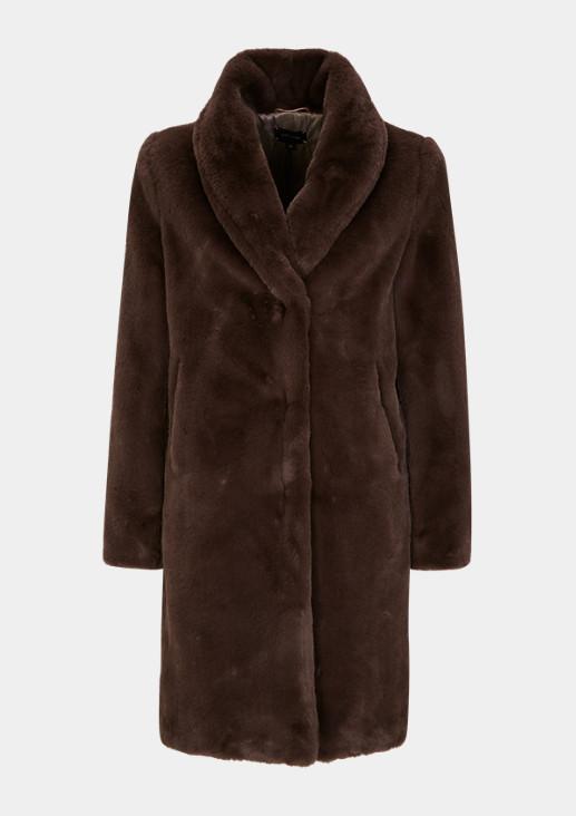 Fake Fur-Mantel mit Schalkragen