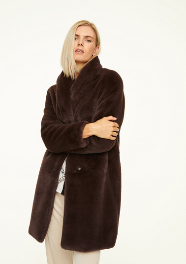 Faux fur coat with a shawl collar from comma