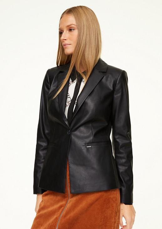 Fake Leather-Blazer mit Satin-Futter
