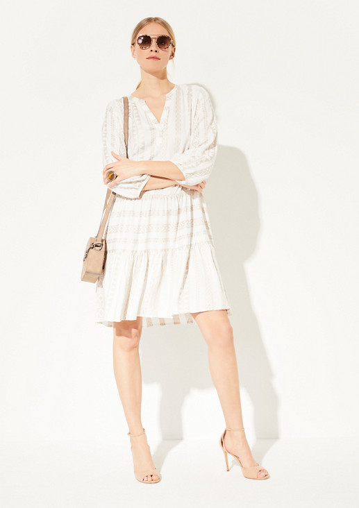 Viscose dress with a woven pattern from comma