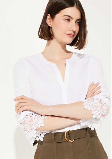 Blouse with a lace trim from comma