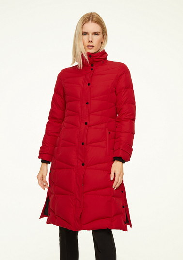 Quilted coat with a detachable hood from comma