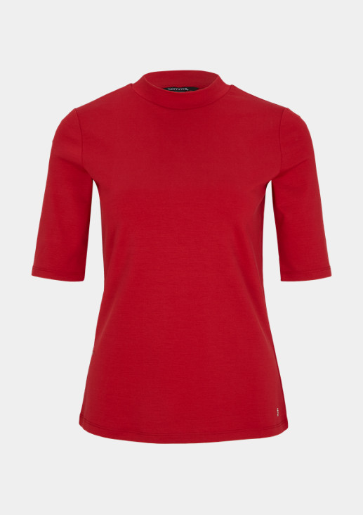 High Neck-Shirt aus Interlockjersey