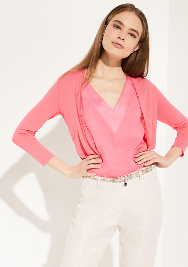 Lightweight cardigan with a lace trim from comma