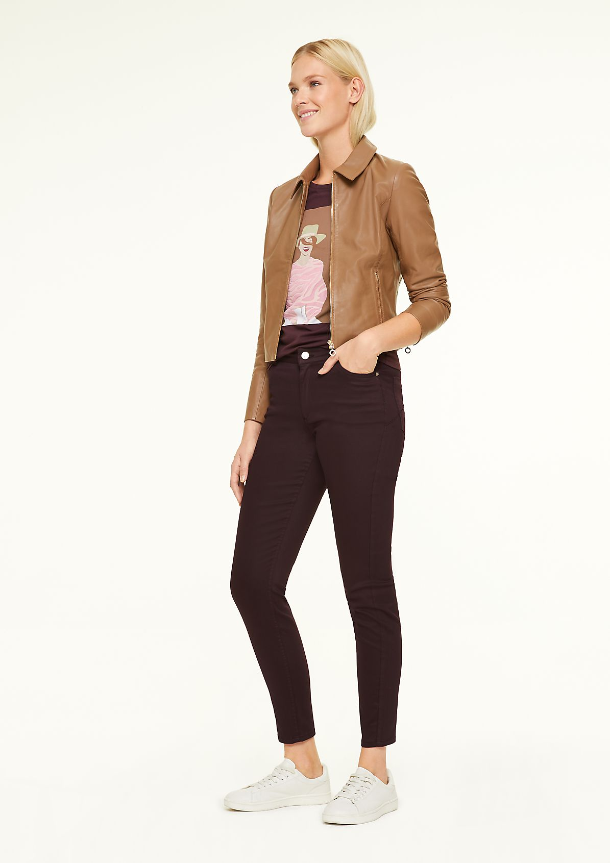 Stretch trousers with coating from comma