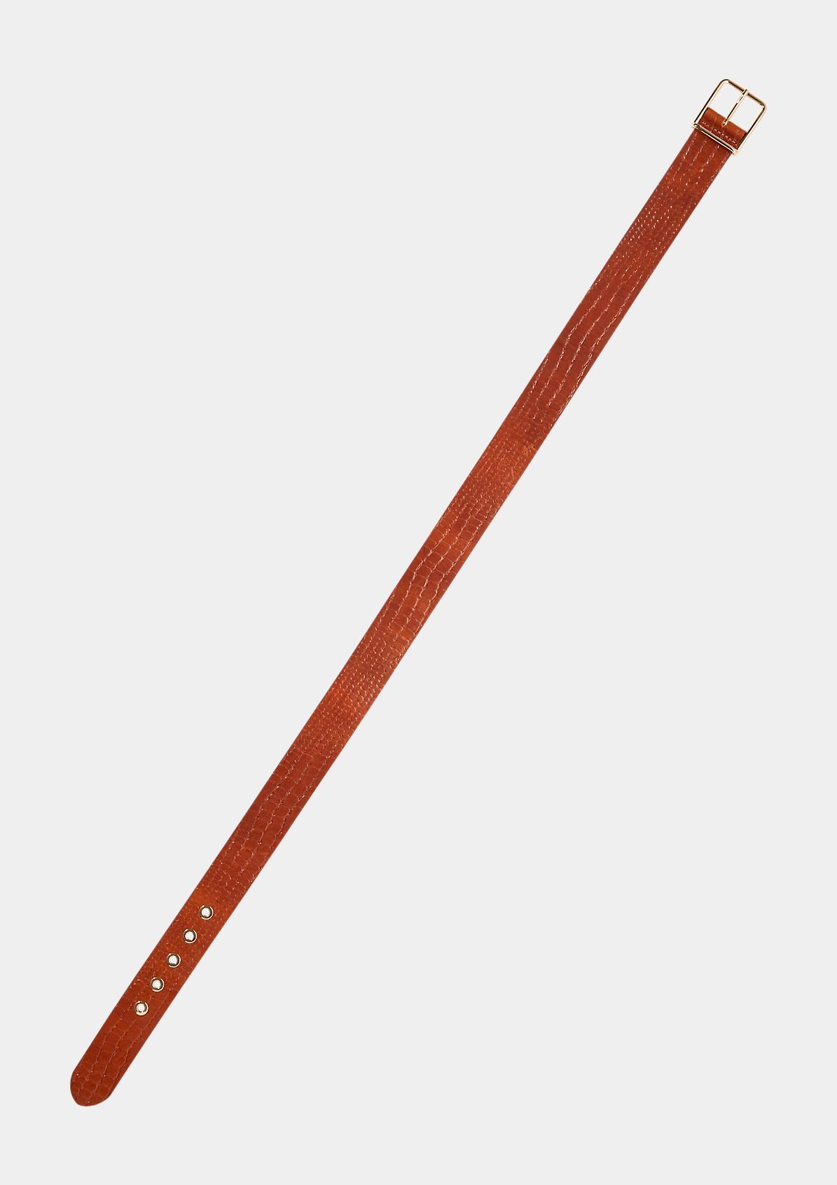Ledergürtel mit Kroko-Prägung