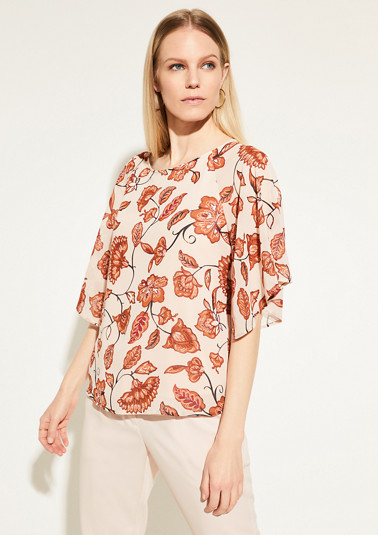 Crêpe blouse with flounce sleeves from comma