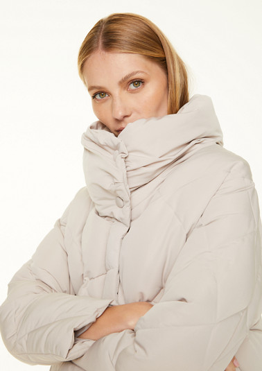 Quilted coat with a stand-up collar from comma