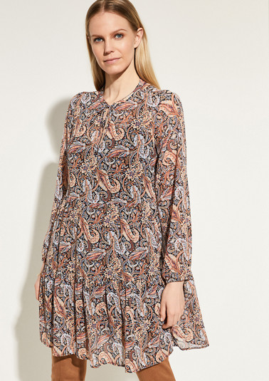 Long tunic blouse with a printed pattern from comma