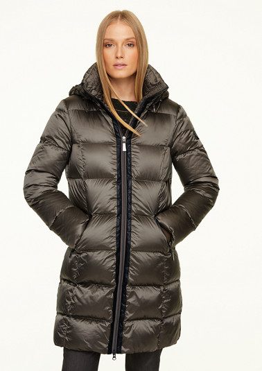 Nylon quilted coat with faux fur from comma