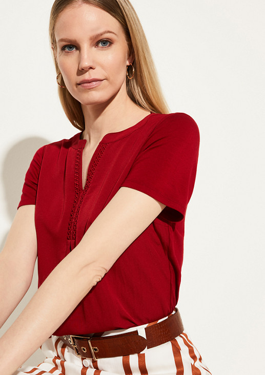 Fabric blend top with lace from comma