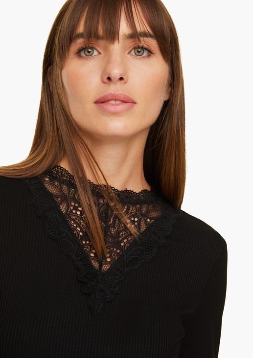 Langarmshirt mit Spitzen-Blende