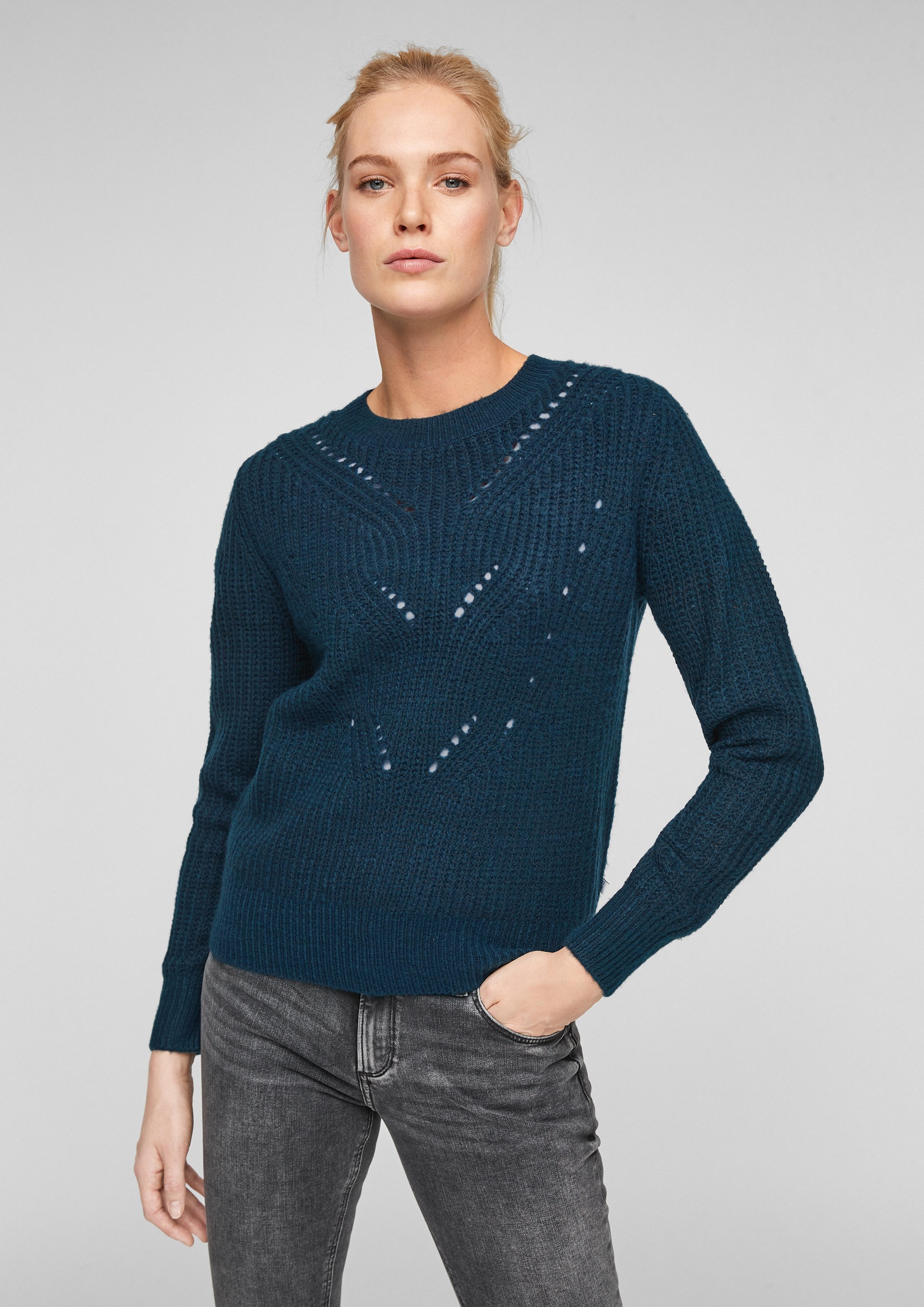 Indexbild 13 - Q-S-designed-by-Women-Softer-Strickpulli-mit-Ajourmuster-Neu