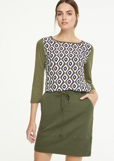 Top with a patterned blouse front from comma