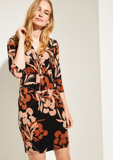Patterned dress with a wrap-over effect from comma