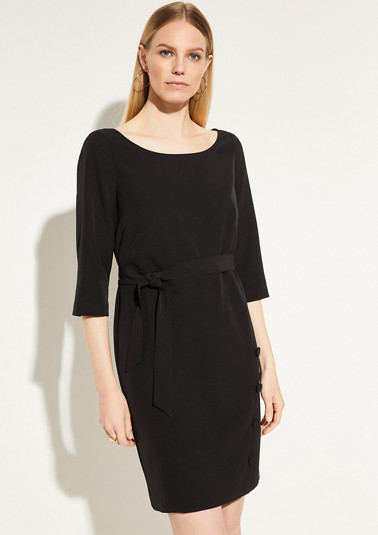 Dress with decorative buttons and a tie-around belt from comma